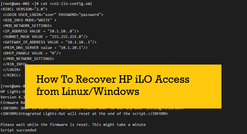 How to get or set iLO details from Linux and Windows (when